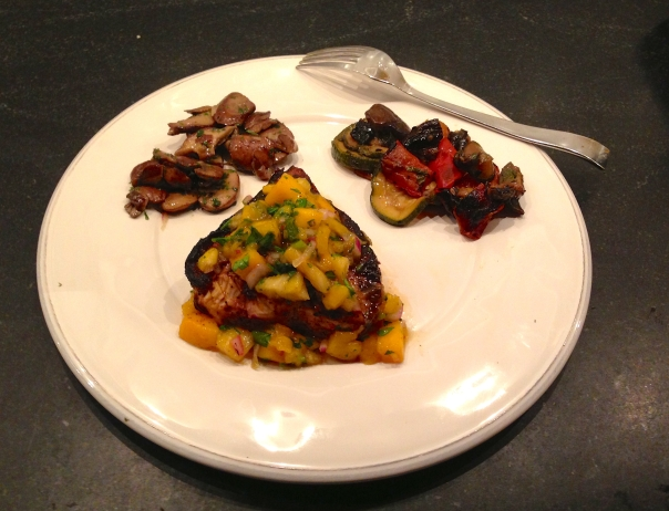 Grilled Swordfish with Pineapple Mango Salsa Served with Grilled Vegetables and Sautéed Mushrooms