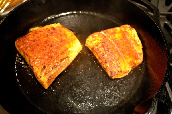 Pan-searing the Halibut