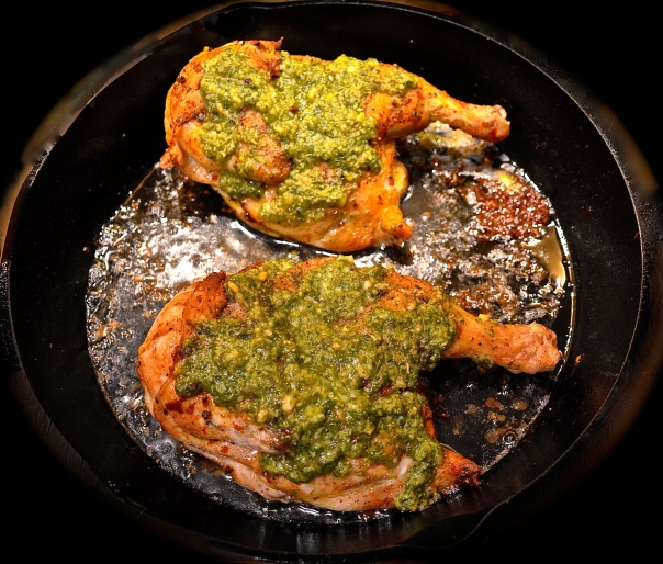 Pesto-Crusted Roast Chicken