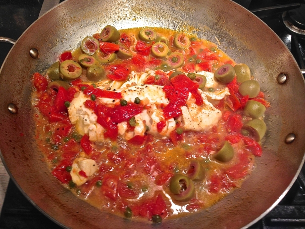 Poached Cod with Tomatoes, Olives and Capers