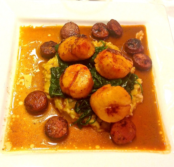 Sautéed U-10 Scallops with Andouille Sausage
